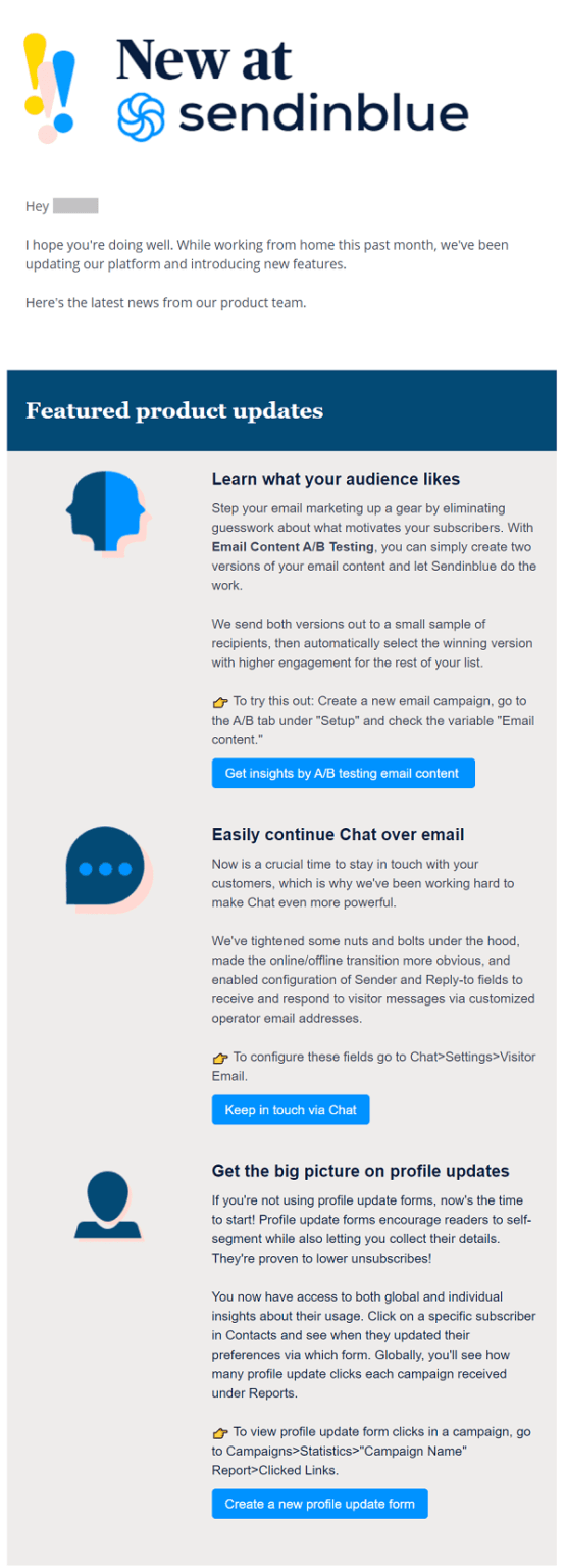 Ví dụ về email cung cấp thông tin