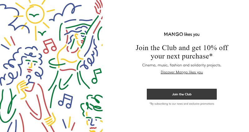 Thương hiệu quần áo Mango giảm 10% cho đơn hàng đầu tiên khi bạn đăng ký nhận newsletter.