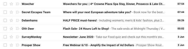 Ví dụ về các tiêu đề email