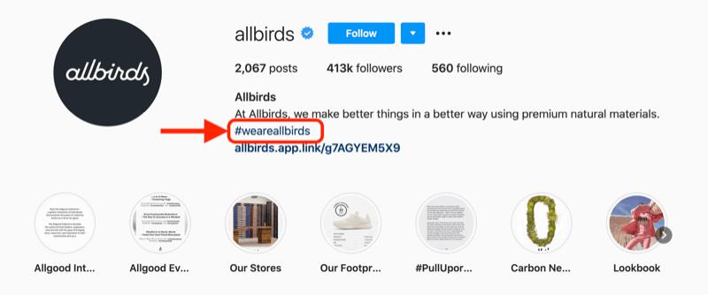 Hashtag do công ty Allbirds tạo