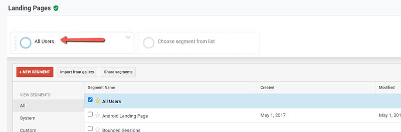 Sử dụng công cụ phân đoạn để dễ dàng theo dõi các thông tin cần thiết trên Báo cáo landing page