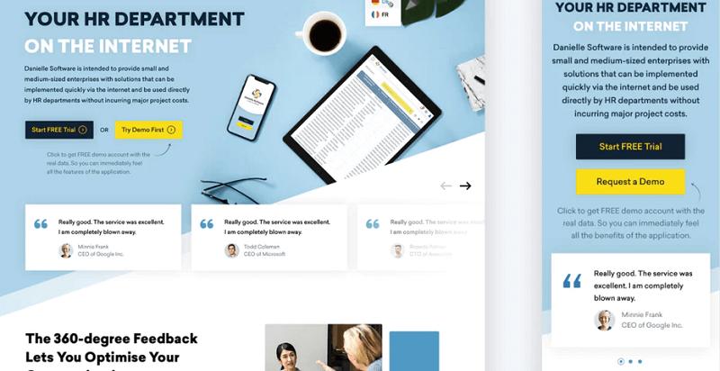 Thiết kế này sử dụng ảnh xoay vòng để nhóm các phần khách hàng chứng thực.