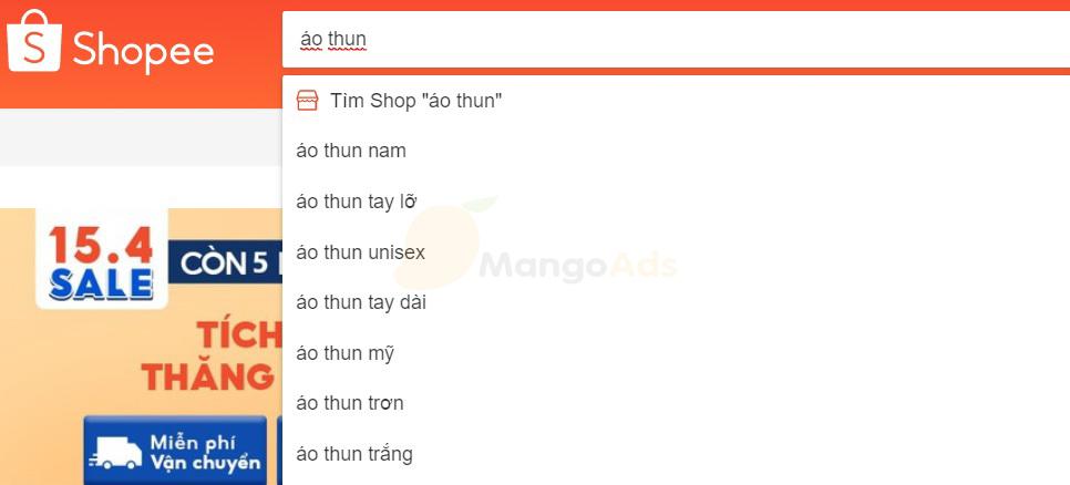 Tìm từ khóa bằng thanh tìm kiếm trên Shopee