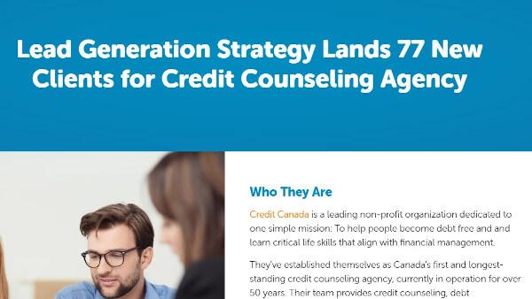 """Hình 11: Một case study của bluleadz có nội dung """"chiến lược tạo khách hàng tiềm năng mang lại 77 khách hàng mới cho cơ quan tư vấn tín dụng"""""""