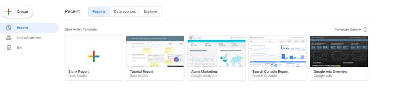 Hình 2: Sử dụng template Acme Marketing để tạo báo cáo