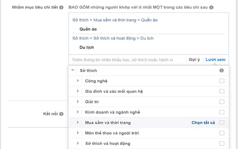 Bạn có thể tùy chỉnh đối tượng dựa vào các tùy chọn của Facebook