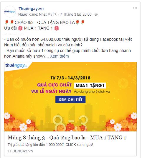 Một ví dụ về content quảng cáo dẫn đến landing page