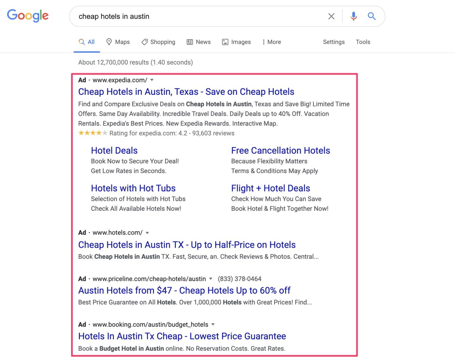 Hình 2: Quảng cáo tìm kiếm động và quảng cáo văn bản tương đối giống nhau
