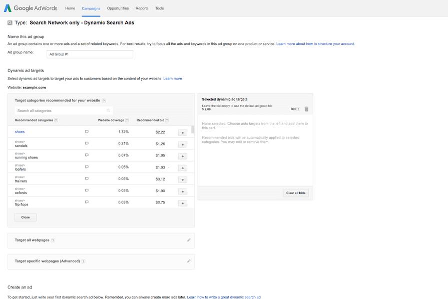 Hình 4: Danh sách web được Google nhắm mục tiêu cho Quảng cáo tìm kiếm động.
