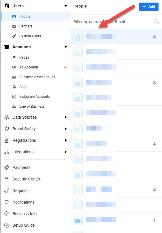 Nơi bạn có thể thấy những ai được truy cập vào tài khoản doanh nghiệp
