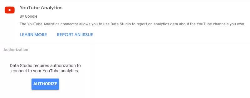 Hình 5: Data Studio có thể kết nối dữ liệu với Youtube Analytics