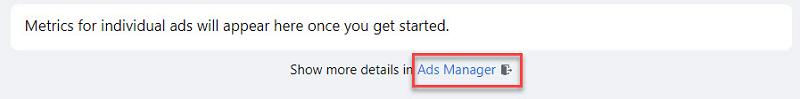 Kích vào trình quản lý quảng cáo để xem chi tiết