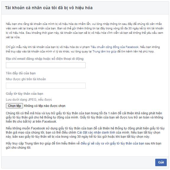 Mẫu sẵn của Facebook để giải quyết vấn đề