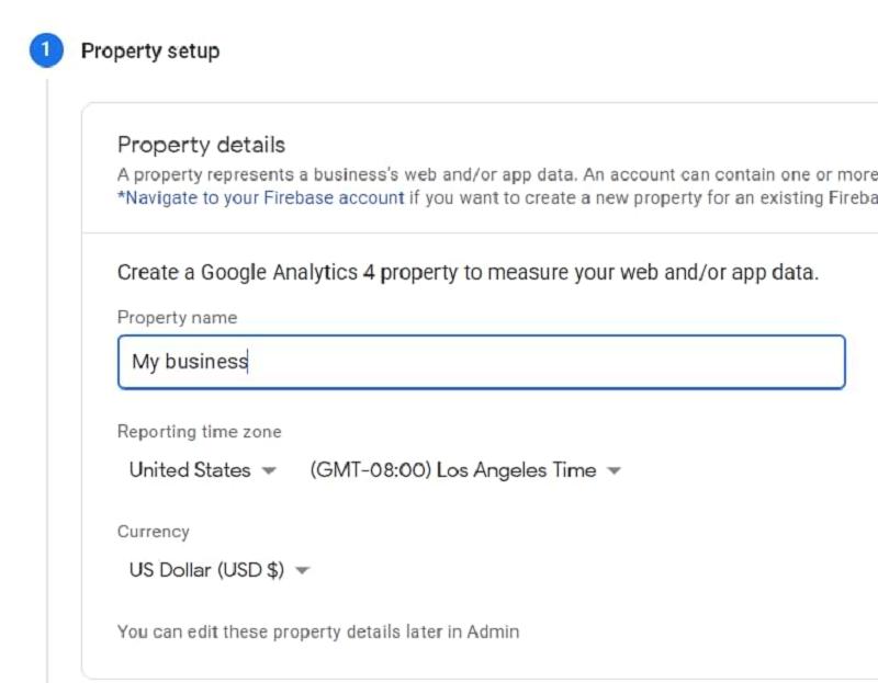 Điền thông tin trong Property Setup