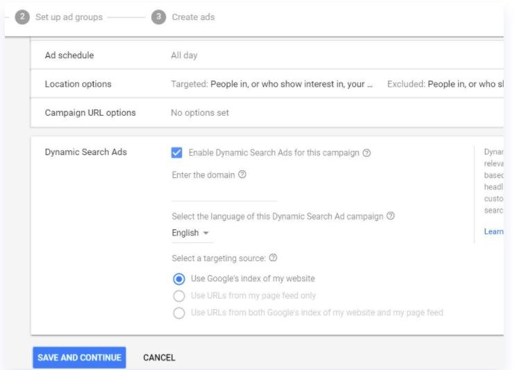 Giao diện setup Dynamic Search Ads