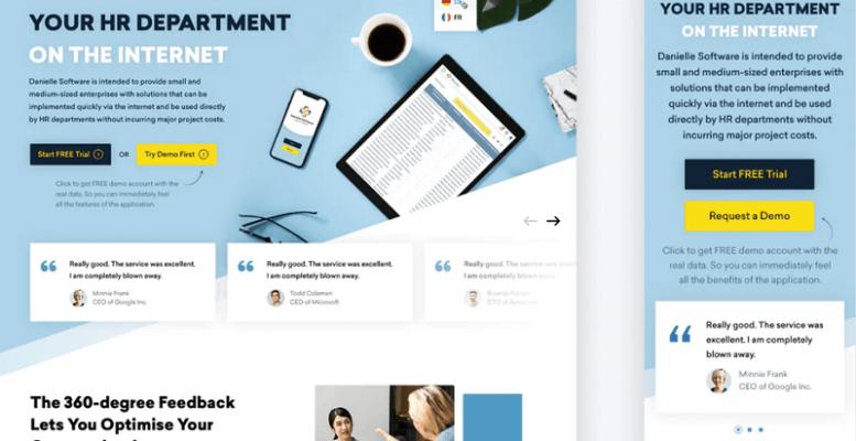 Thiết kế này sử dụng ảnh xoay vòng để nhóm các phần khách hàng chứng thực. (Nguồn ảnh: Artyom Ost)