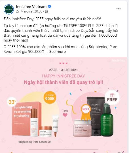 Innisfree Việt Nam tặng ngay sản phẩm dưỡng da chất lượng khi mua cùng bộ sản phẩm Brightening Pore