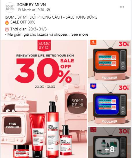 SOME BY MI VN sale mạnh trên Fanpage và các trang thương mại điện tử