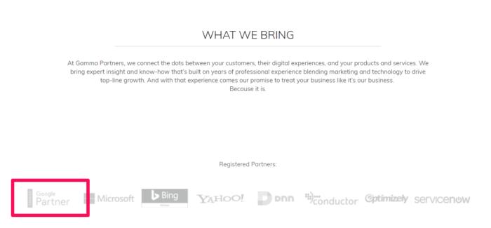 Hình 9: Gamma Partner trưng bày huy hiệu Google Partner của mình trên website