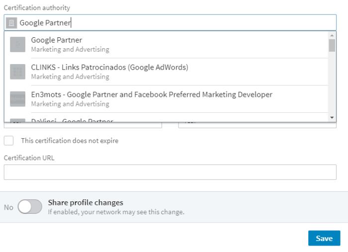 Hình 14: Thêm chứng nhận Google Partner vào sơ yếu lý lịch LinkedIn