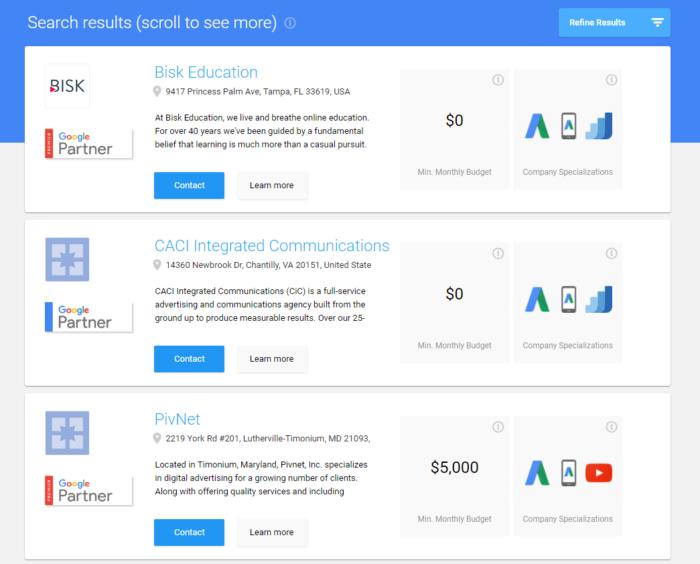 Hình 18: Google hiển thị các agency hàng đầu và chứng chỉ họ nhận được