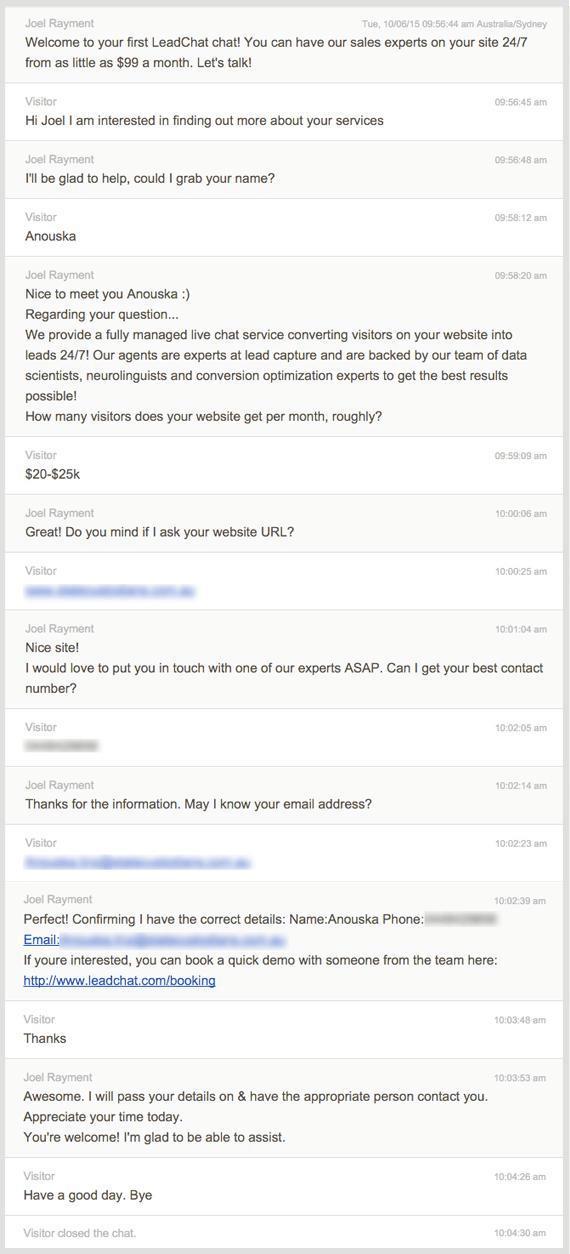 Một ví dụ về thu thập dữ liệu khách hàng tiềm năng qua LeadChat