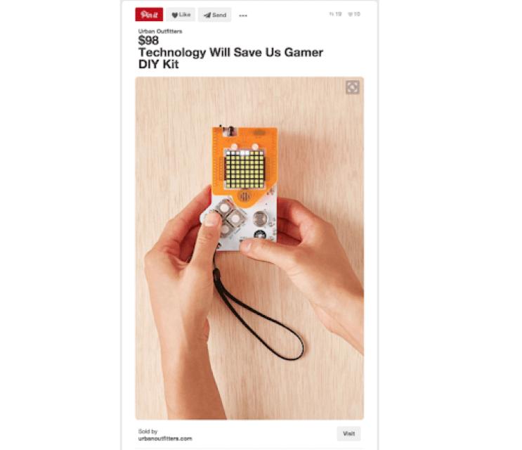 Ghim sản phẩm trong Pinterest giúp làm nổi bật giá và tiêu đề của sản phẩm