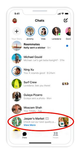 Hình 12: giao diện của một quảng cáo trong ứng dụng Messenger
