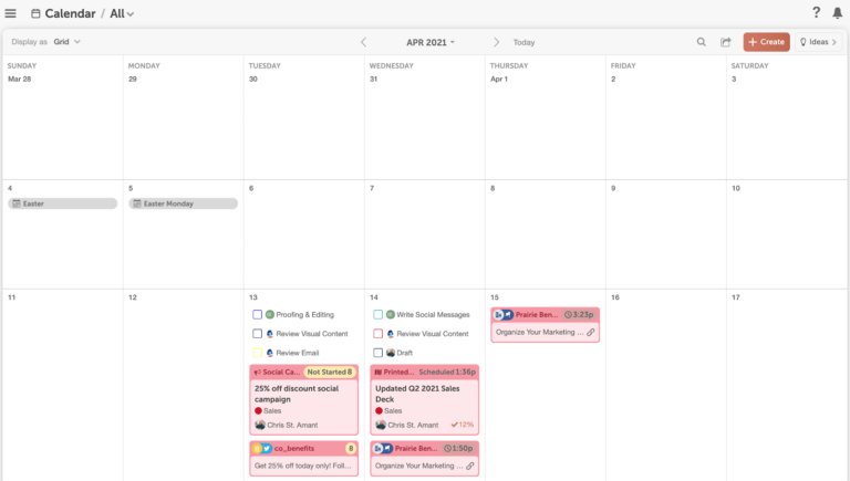 Hình 1: Ví dụ về một content calendar (Nguồn: CoSchedule)