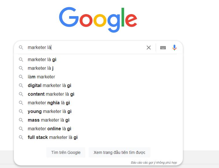 Hình 4: Tính năng tự động điền của Google