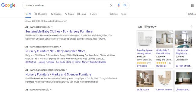 Hình 3: Những quảng cáo tìm kiếm sẽ xuất hiện ở đầu các SERPs