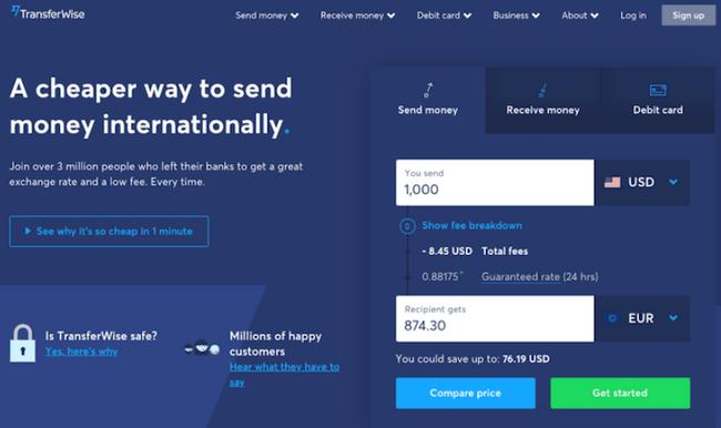 Hình 4: Landing page của TransferWise