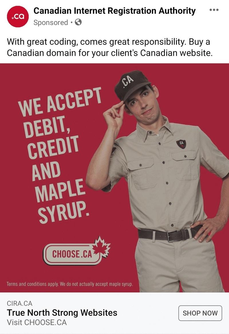 Hình 1: Ví dụ về quảng cáo hình ảnh từ trang Canadian Internet Registration Authority