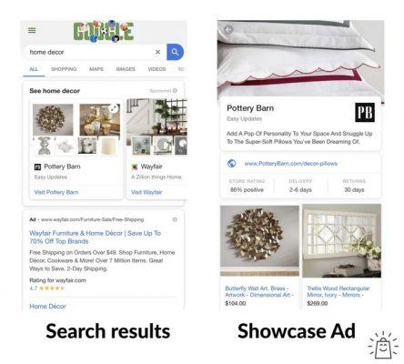 Ví dụ về Showcase Shopping ads của một cửa hàng bán trang trí nhà cửa