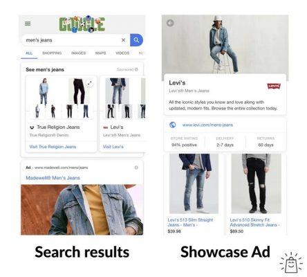 Ví dụ về Showcase Shopping ads của một cửa hàng thời trang và trang phục