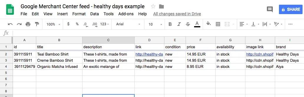 Ví dụ về nguồn cấp dữ liệu sản phẩm ở định dạng bảng tính