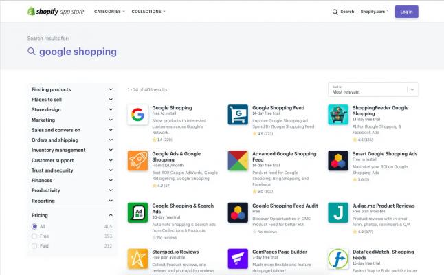 Hình 2: Tổng quan về ứng dụng Google Shopping trên cửa hàng ứng dụng Shopify