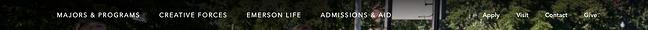 Website của Đại học Emerson có các mục được phân nhóm theo đối tượng