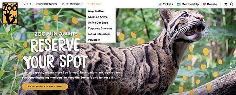 Giao diện điều hướng trên website phi lợi nhuận của Vườn thú Nashville