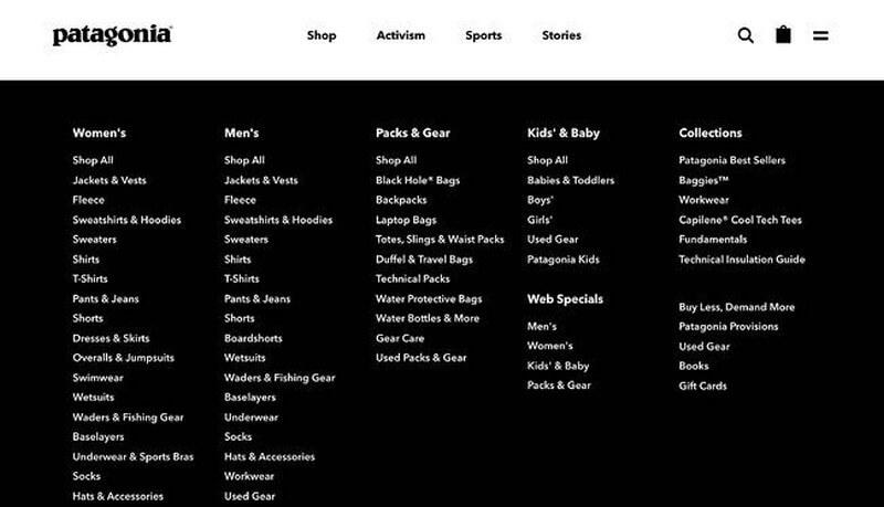 Patagonia sử dụng một menu điều hướng lớn trên website của mình