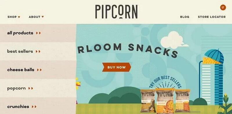 Menu điều hướng ngang của Pipcorn có các mục thả xuống theo chiều dọc
