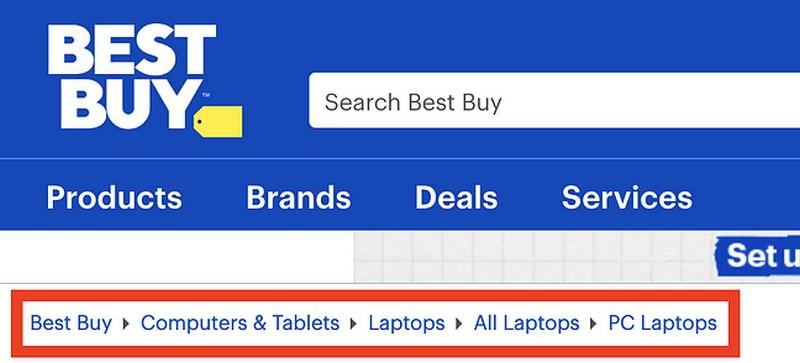 Menu điều hướng Breadcrumb trên website của Best Buy