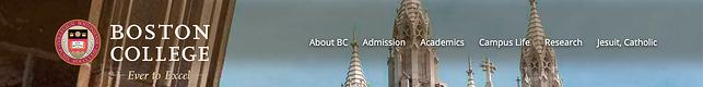 Menu điều hướng trên website của Trường Cao đẳng Boston