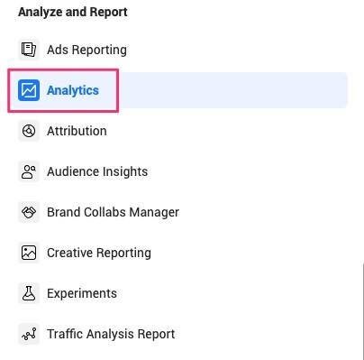 Công cụ phân tích trong Trình quản lý doanh nghiệp của Facebook.