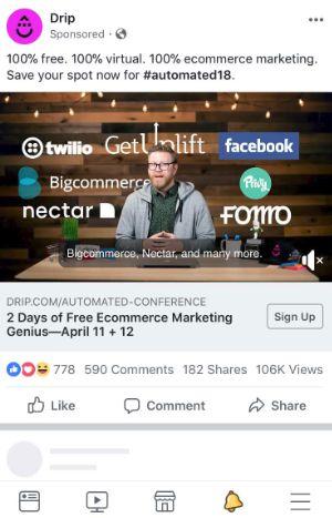 Ví dụ về quảng cáo của Drip