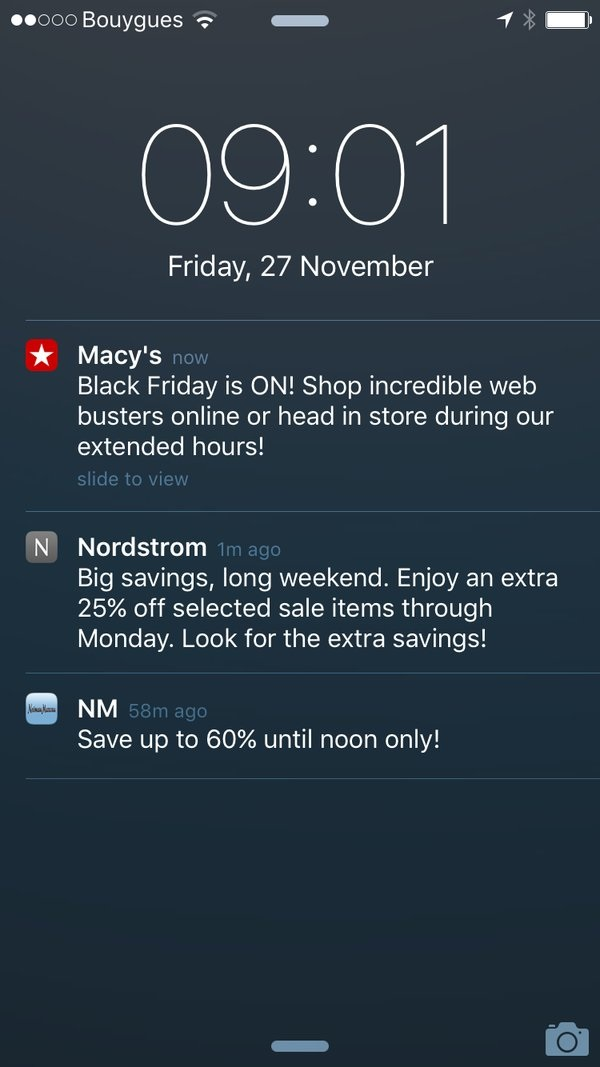Hình 2: Push notification về đợt giảm giá vào Black Friday được gửi từ Macy's