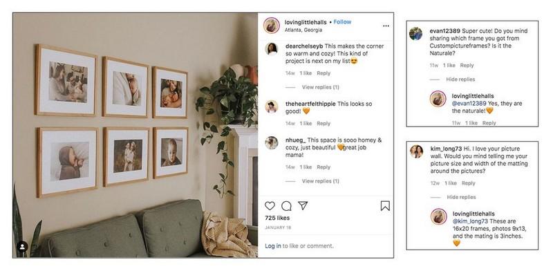 Influencer Love Little Halls quảng bá sản phẩm khung ảnh và tương tác với follower