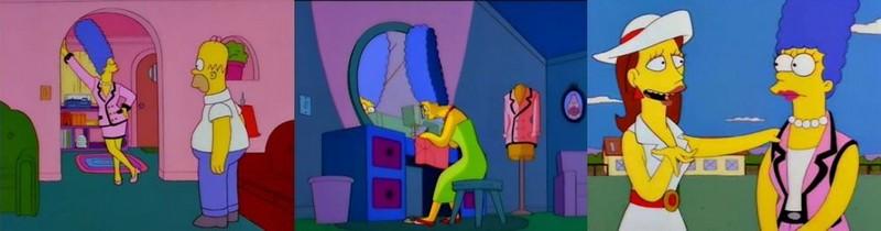 Marge Simpson biến đổi trang phục ban đầu thành bộ đồ mới.