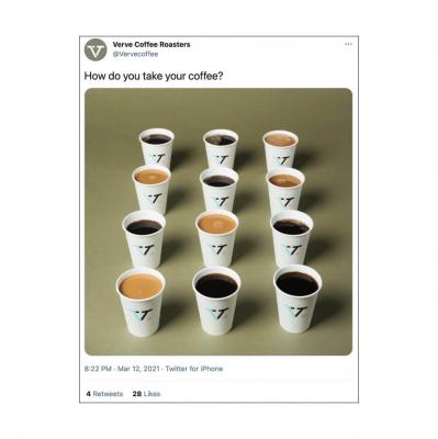 Verve Coffee Roasters khuyến khích sự tương tác bằng cách hỏi follower về sở thích cà phê của họ.